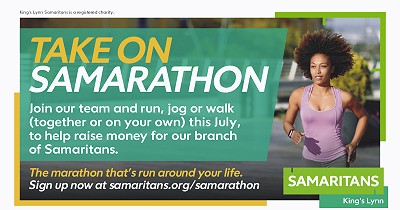 KING'S LYNN SAMARITANS CALLING FOR LOCAL PEOPLE TO TAKE ON 'SAMARATHON' TO RAISE VITAL FUNDS DURING JULY